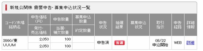 【IPO】当選しました!UUUM(3990)の抽選結果。久々過ぎて震えた。(゚Д゚)ノYouTuberゲットだぜ!